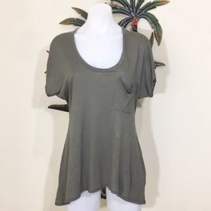 5/48 army green scoop neck lace blouse size S